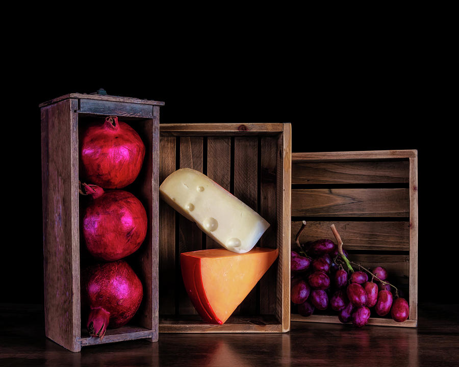 Pomegranate Photograph - Boxed Cheeses And Fruits by Tom Mc Nemar