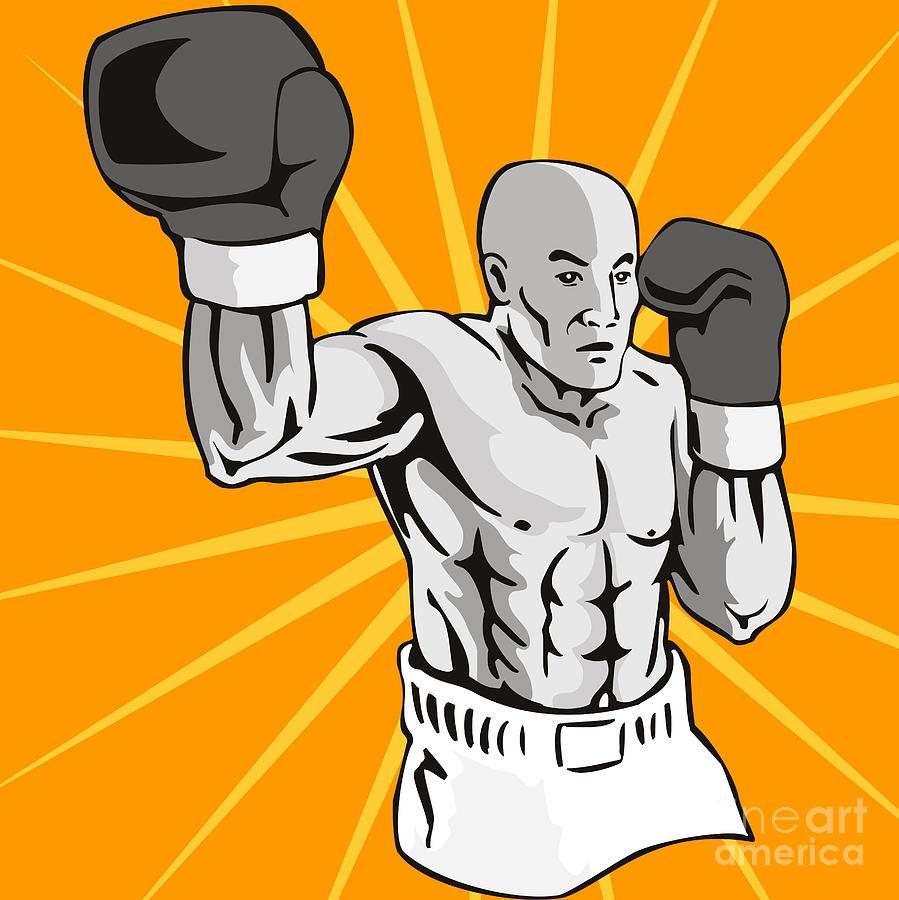 Boxer Digital Art - Boxer Boxing Knockout Punch Retro by Aloysius Patrimonio