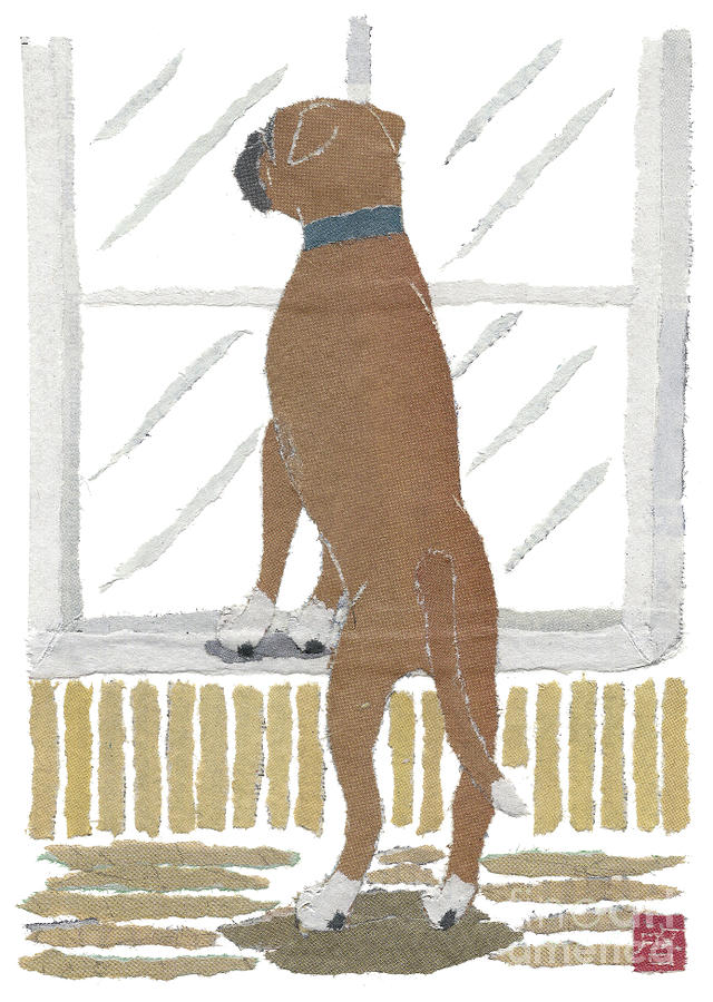 Boxer Dog Mixed Media - Boxer Dog Art Hand-torn Newspaper Collage Art by Keiko Suzuki Bless Hue