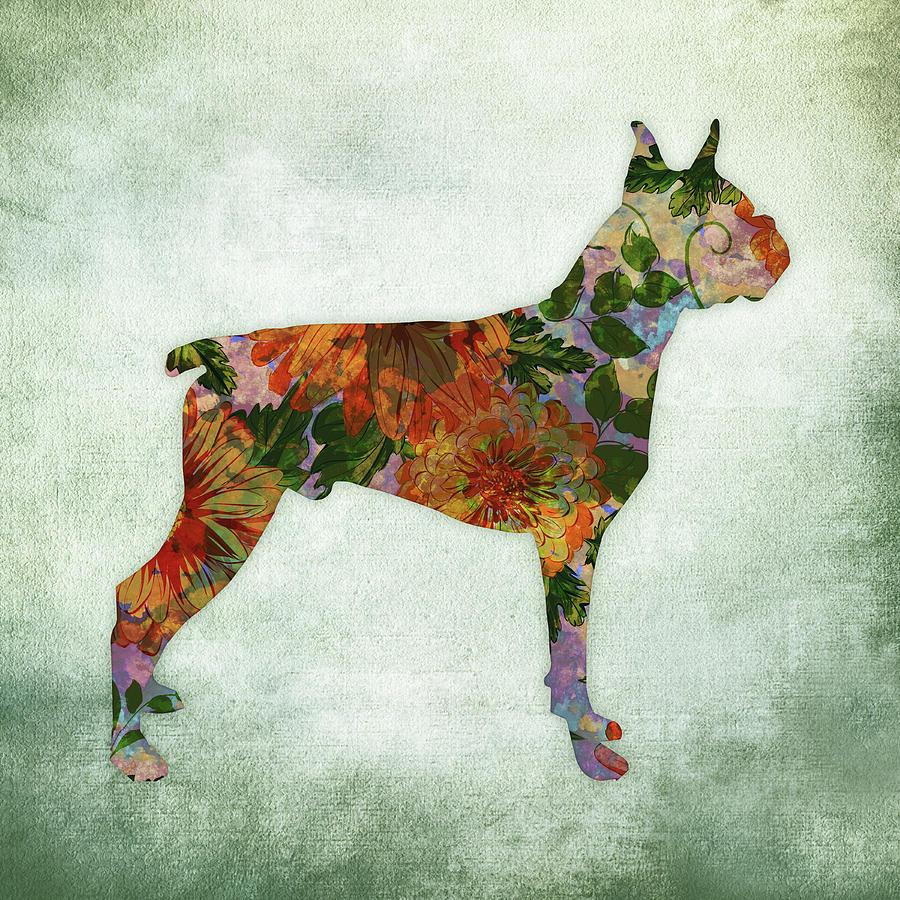 Boxer Dog Floral On Green Digital Art by Flo Karp
