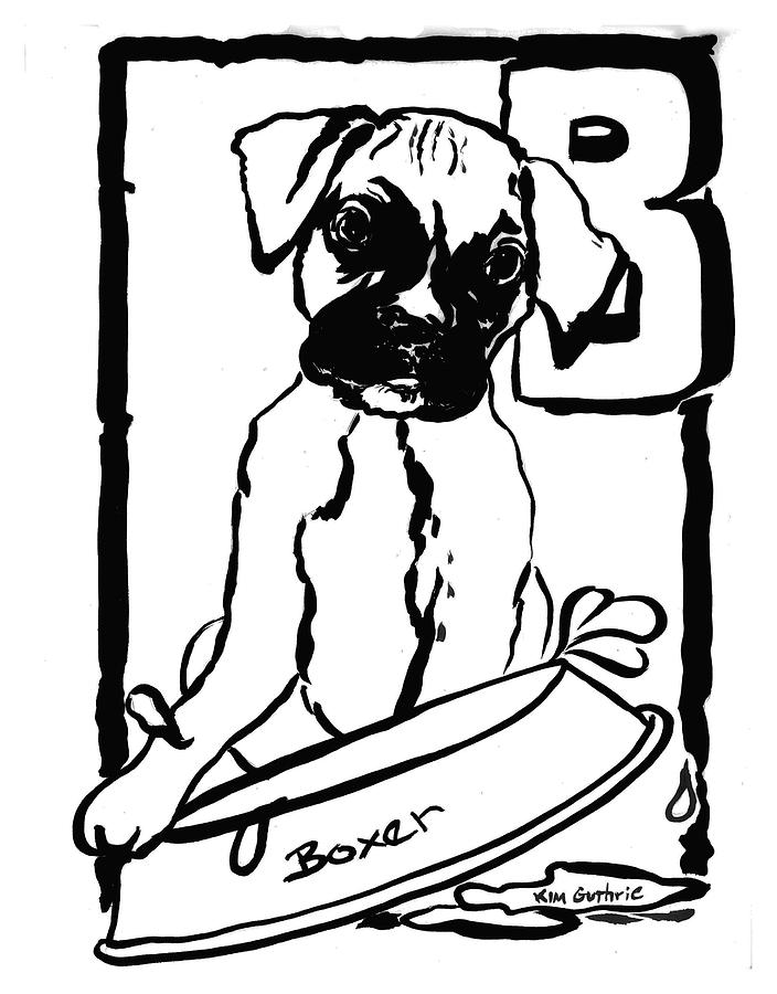 Boxer Dog Painting Black And White Painting By Kim Guthrie