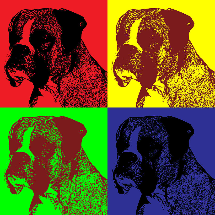 boxer dog pop art style digital art by james bryson. Black Bedroom Furniture Sets. Home Design Ideas