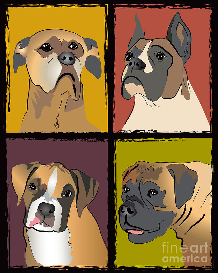 Boxer Puppy Painting - Boxer Dog Portraits by Robyn Saunders