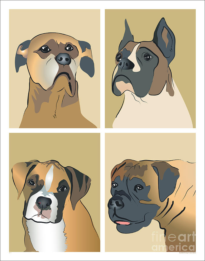 Dogs Painting - Boxer Dogs 4 Up by Robyn Saunders