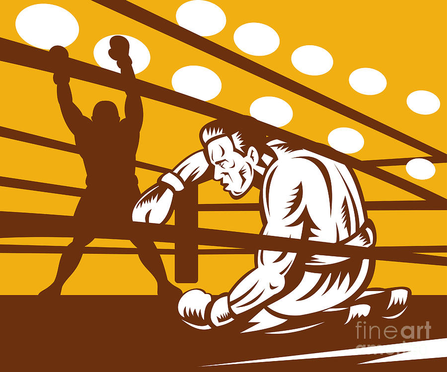 Boxing Digital Art - Boxer Down On His Hunches by Aloysius Patrimonio