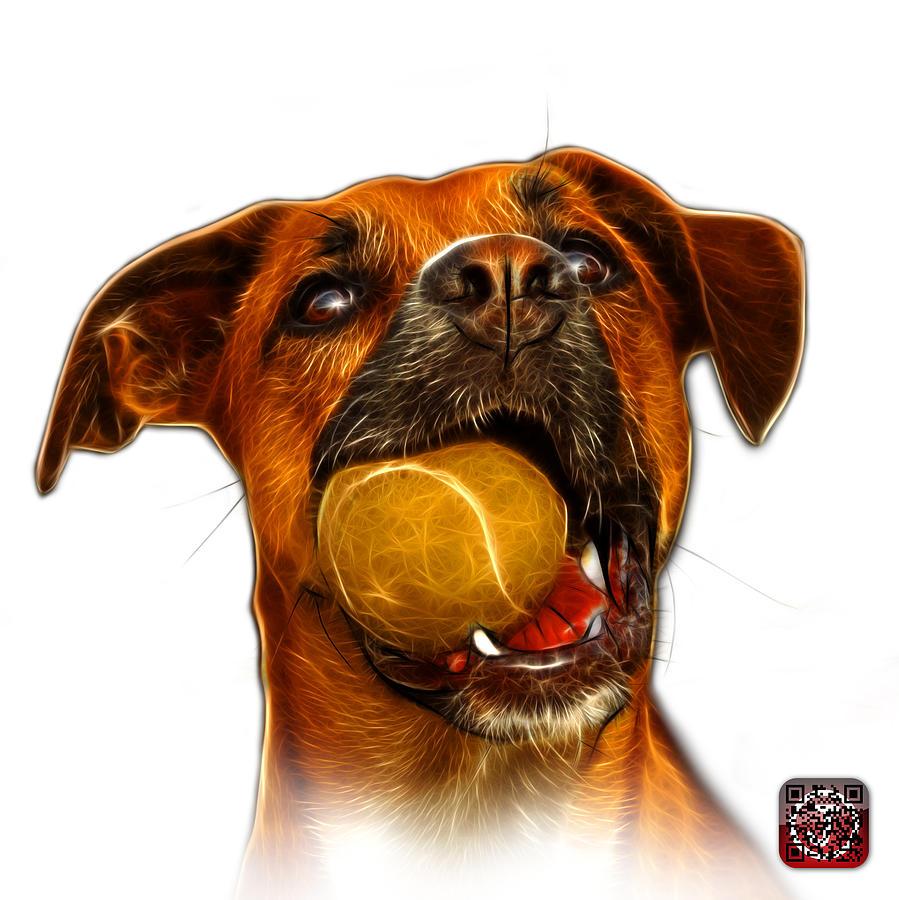 Dog Digital Art - Boxer Mix Dog Art - 8173 - Wb by James Ahn