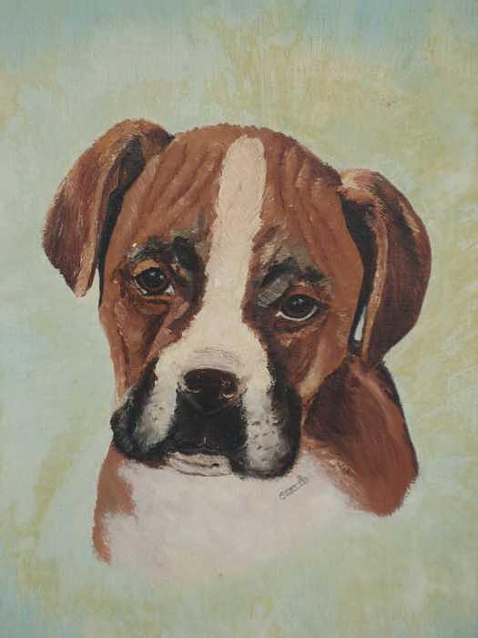 Boxer Puppy Painting by Joanie Arvin