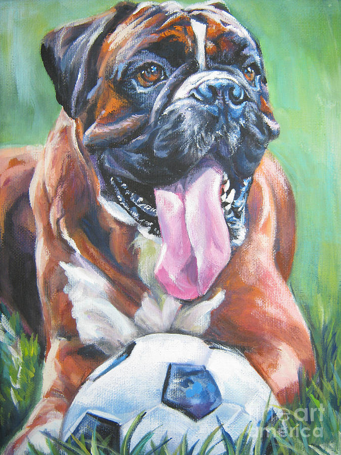 Boxer Painting - Boxer Soccer by Lee Ann Shepard