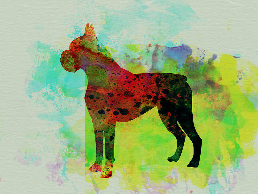 Boxer Painting - Boxer Watercolor by Naxart Studio