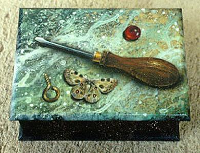 Tools Mixed Media - Boxtop by Lauren Cole Abrams