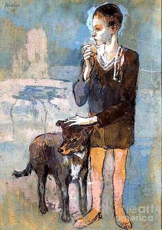 Boy And Dog Painting
