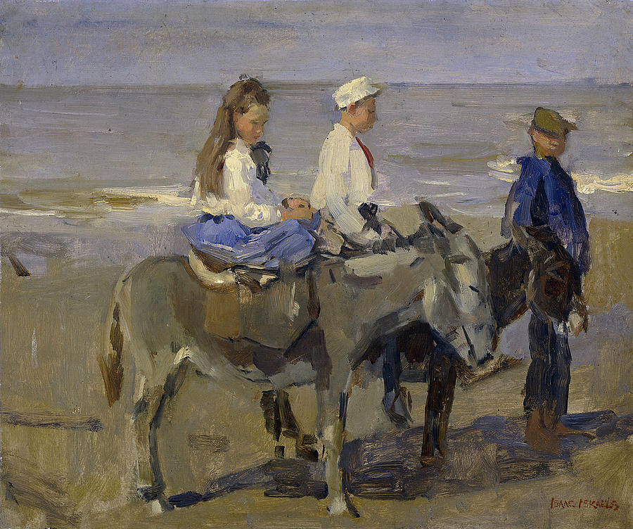 Dutch Painters Painting - Boy and Girl Riding Donkeys by Isaac Israels