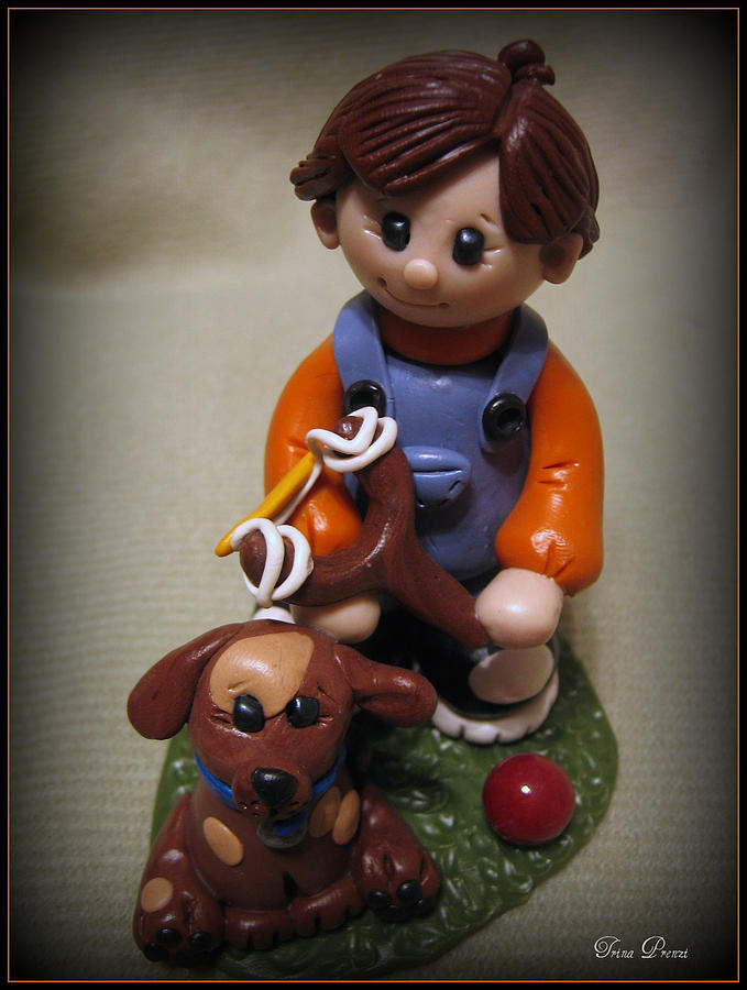 Polymer Clay Sculpture - Boy And His Dog by Trina Prenzi