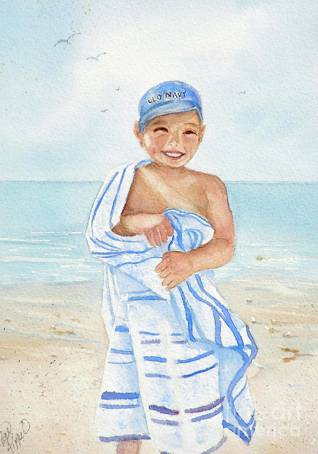 Boy Painting - Boy At The Beach by Midge Pippel