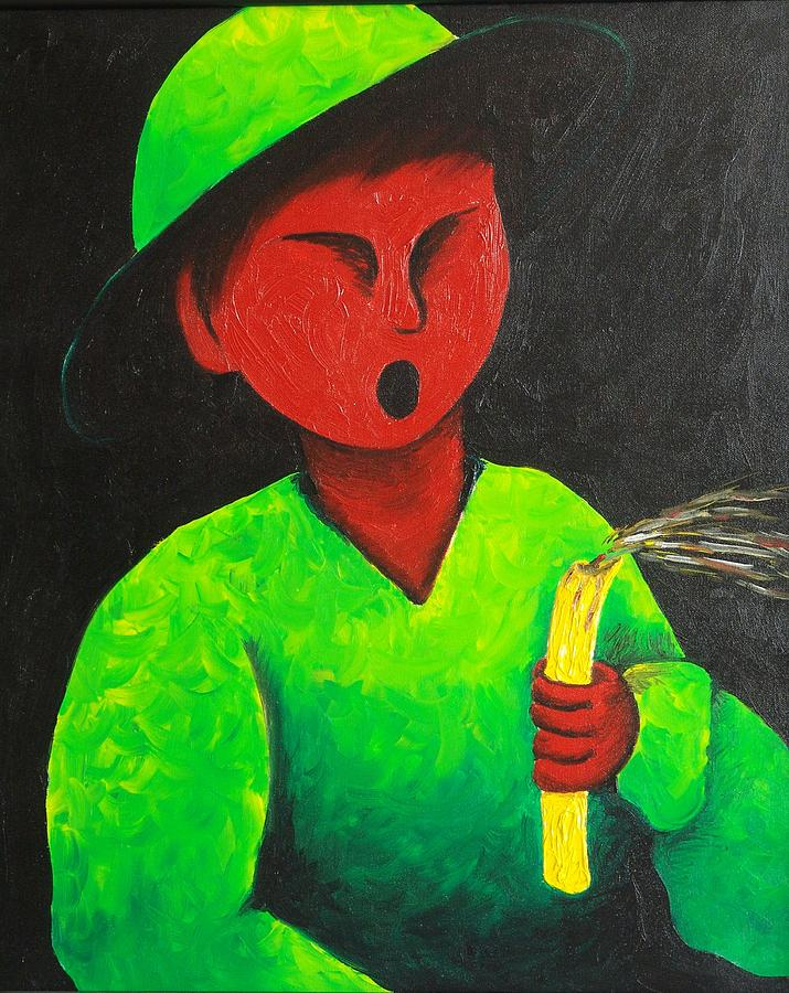 Sacha Circulism Painting - Boy Blowing Out Candle  1987 by S A C H A -  Circulism Technique