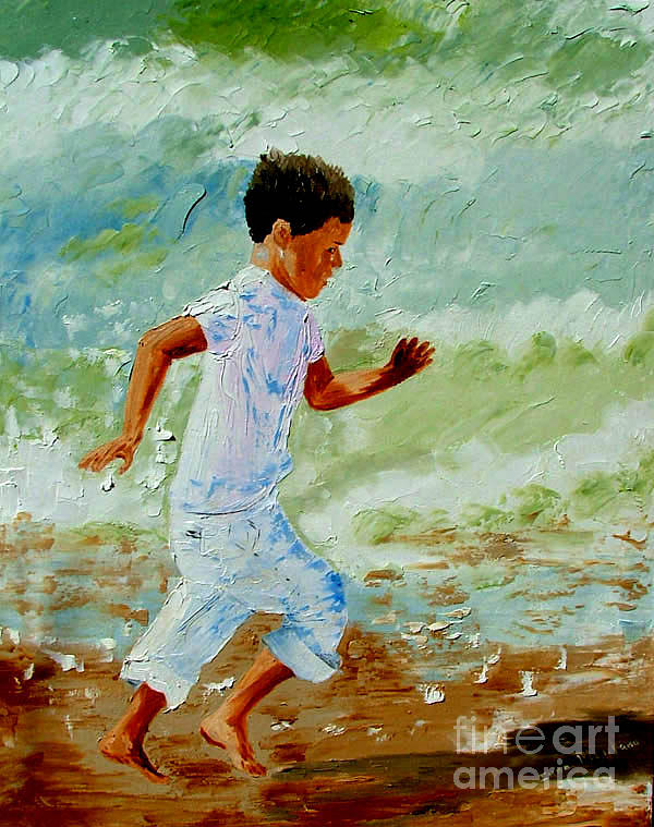 Boy Painting - Boy By The Sea by Inna Montano