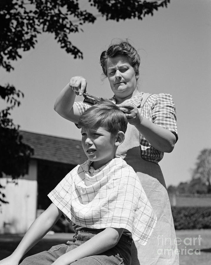 Boy Getting A Haircut C1940s Photograph By H Armstrong Roberts