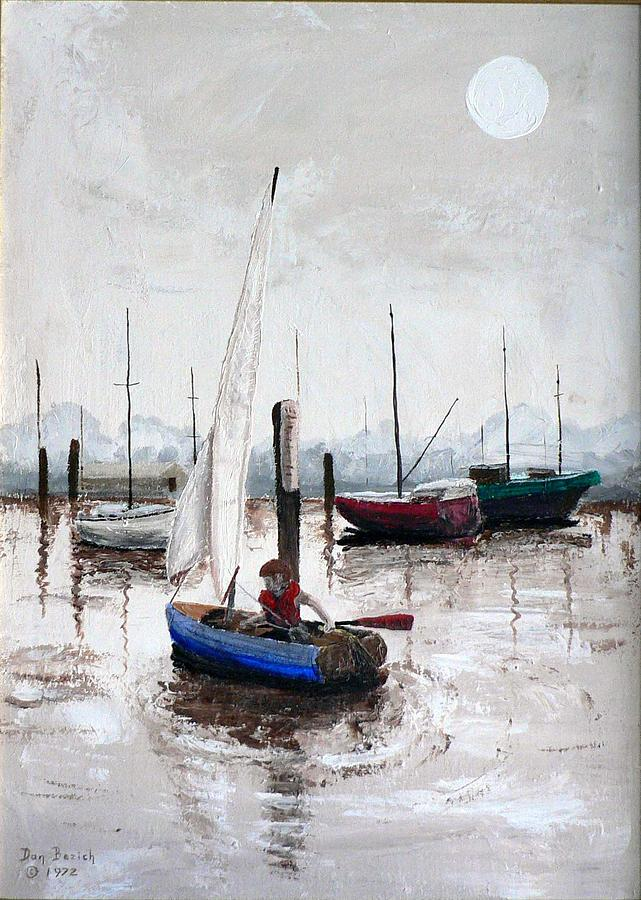 Blue Sailboat Painting - Boy In Blue Sailboat by Dan Bozich