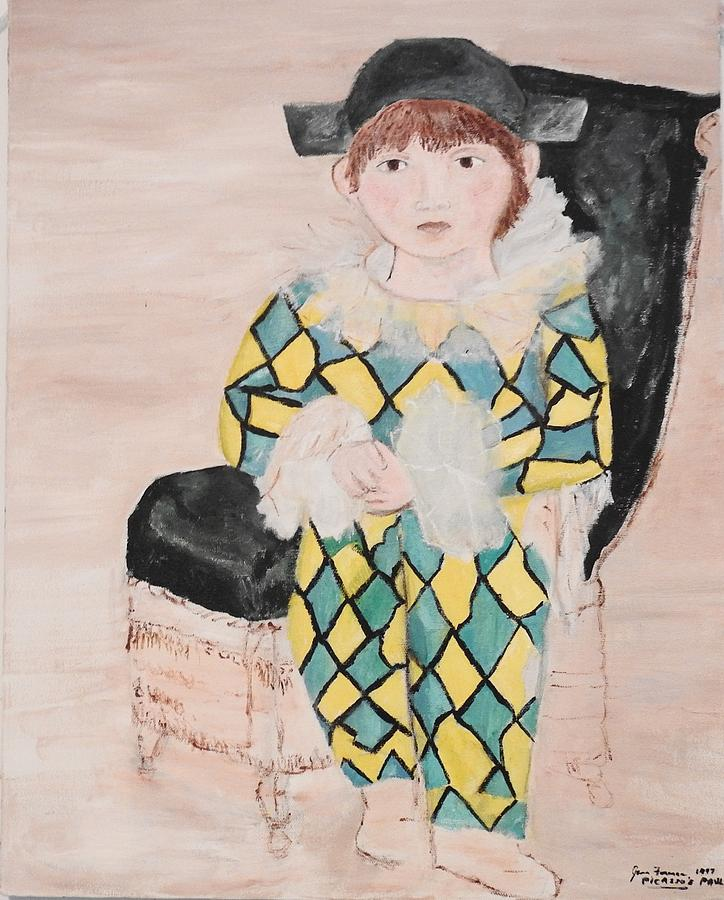 Harlequin Painting - Boy In Costume Picasso Inspired by Jean Forman