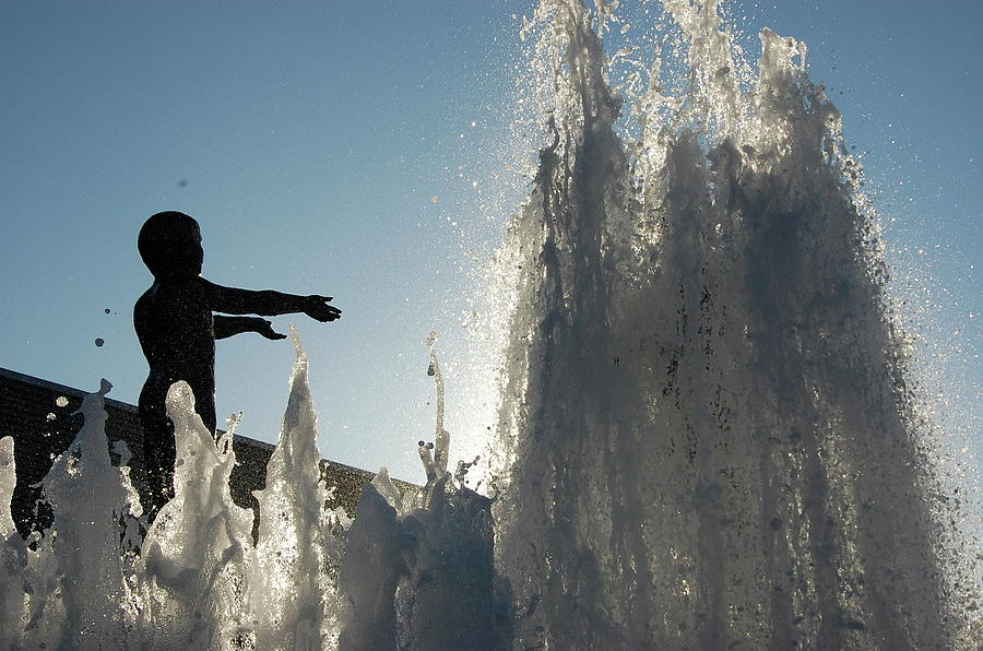 Sculpture Photograph - Boy In Fountain by Samantha Kimble