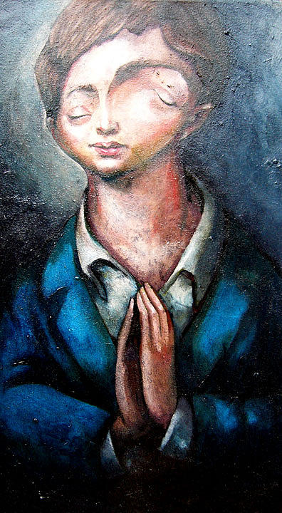 Boy In Prayer Painting by Nathan  Jensen