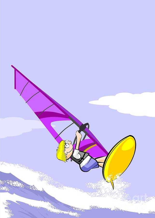 Boy Jumping Over The Waves On A Yellow Windsurf Board With A Violet Sailing  by Daniel Ghioldi