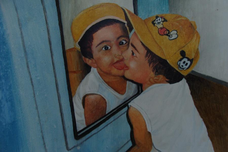 Boy Painting - Boy Looking In Mirror by Jestin Xavier