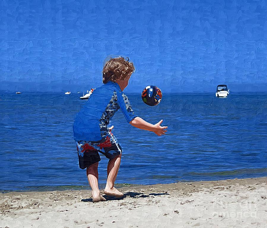 Beach Painting - Boy On The Beach by Deborah Selib-Haig DMacq