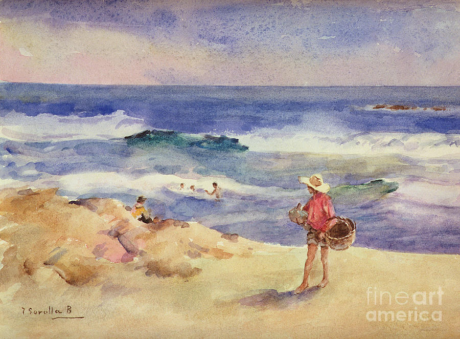 Water Painting - Boy On The Sand by Joaquin Sorolla