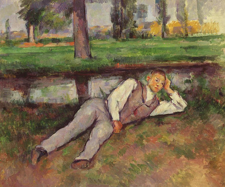 Cezanne Painting - Boy Resting by Paul Cezanne