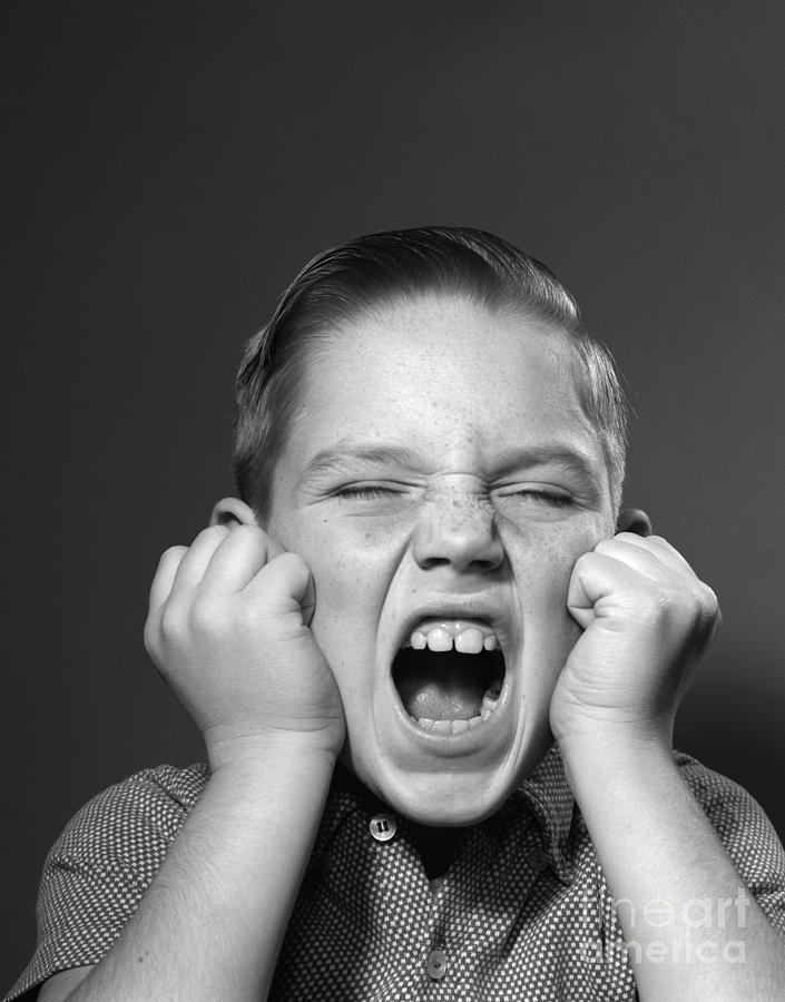 boy screaming c 1950s photograph by debrocke classicstock