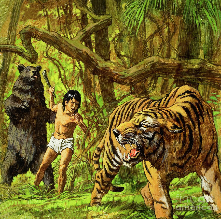 Boy With Bear And Tiger Painting By English School