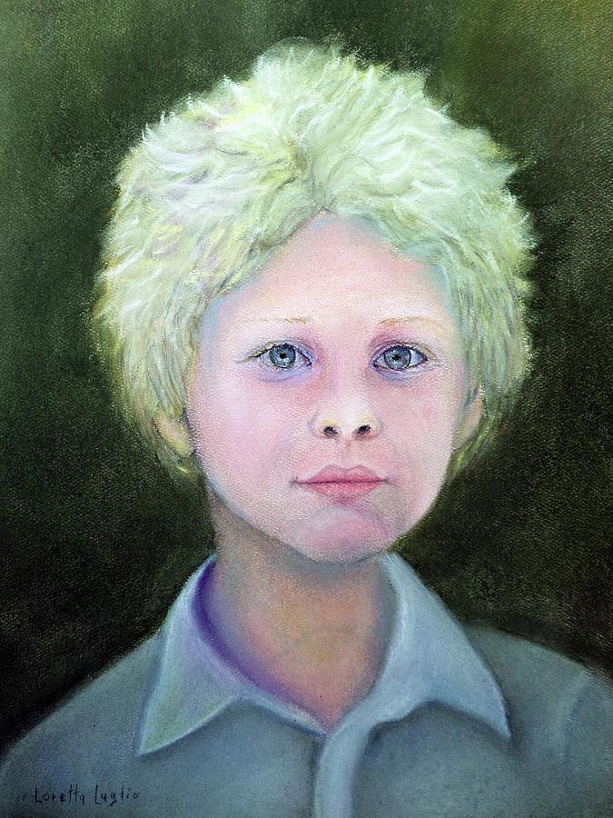 Portrait Pastel - Boy With Curly Hair by Loretta Luglio