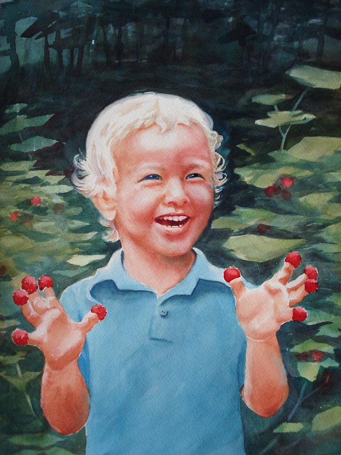 Boy Painting - Boy With Raspberries by Marilyn Jacobson