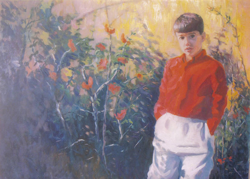 Portrait Painting - Boy with Red Shirt by John L Campbell