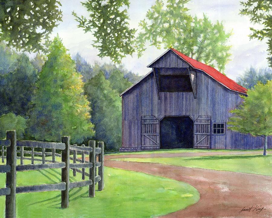 Barn Painting - Boyd Mill Barn by Janet King