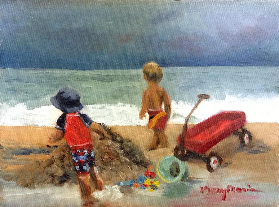 Boys At The Beach With Wagon