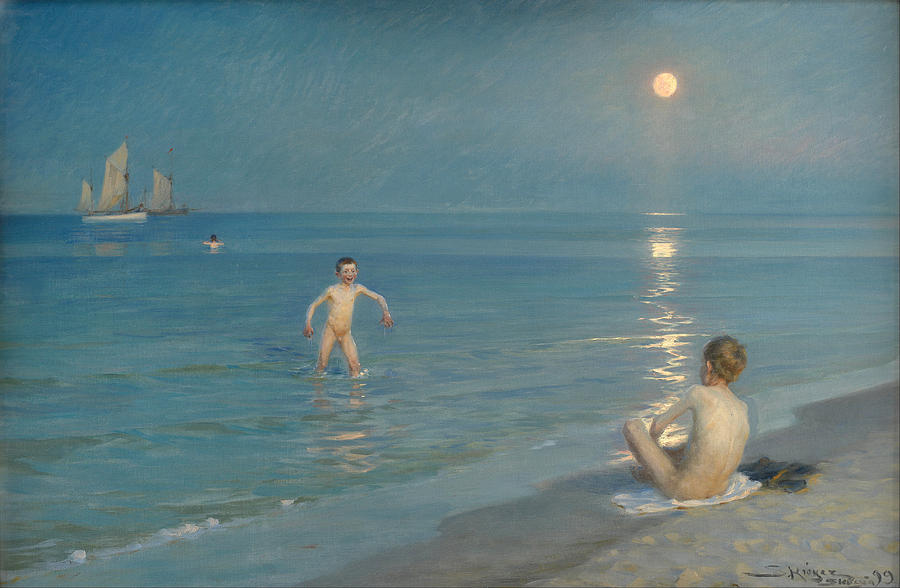 Skagen Painting - Boys Bathing At Skagen On A Summer Evening by P S Kroyer