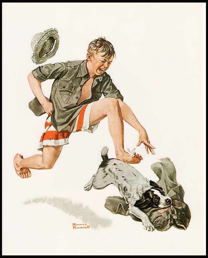 Norman Rockwell Painting - Boys Best Friend Border by Norman Rockwell