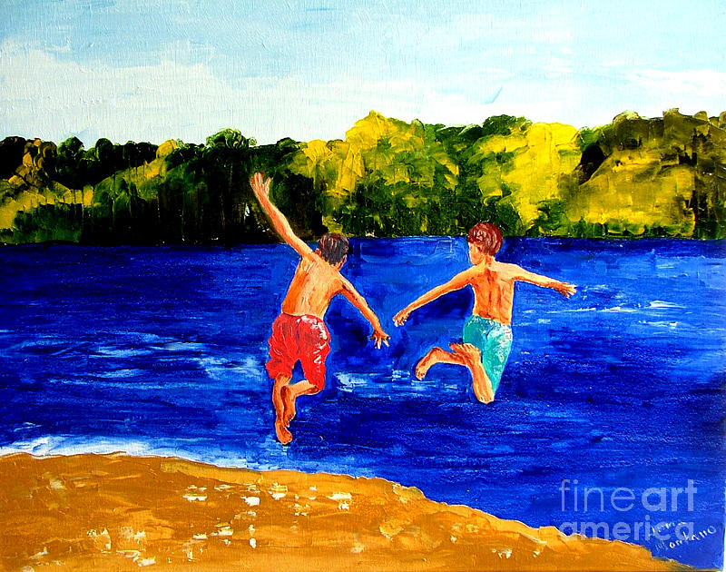 Boys Painting - Boys By The River by Inna Montano