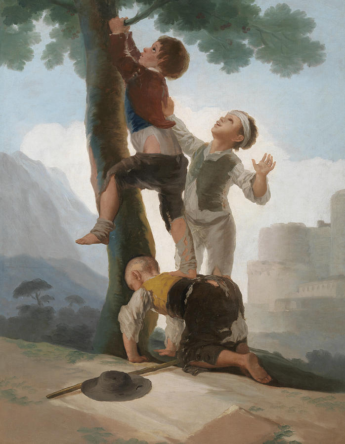 Boys Climbing Up A Tree Painting By Francisco Goya - Francisco goya paintings