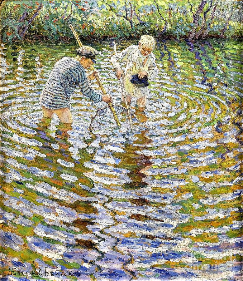 Boys Painting - Boys Fishing For Minnows by Reproduction