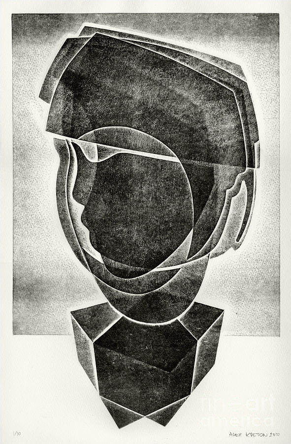 Relief Print Drawing - Boys Head by Alex Kveton