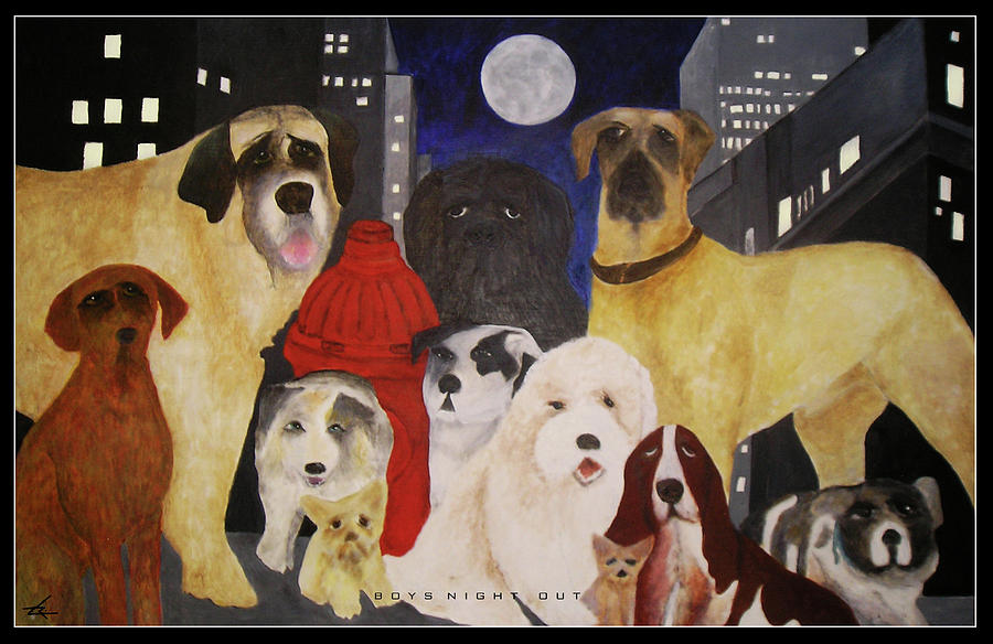 Dogs Painting - Boys Night Out by Larry Rice