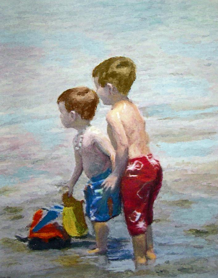 Boys On The Beach Painting by Lamarr Kramer
