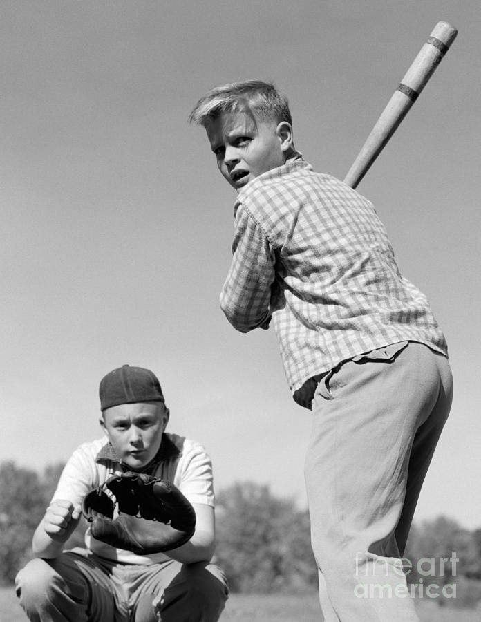 Boys Playing Baseball 1950s Photograph By H Armstrong