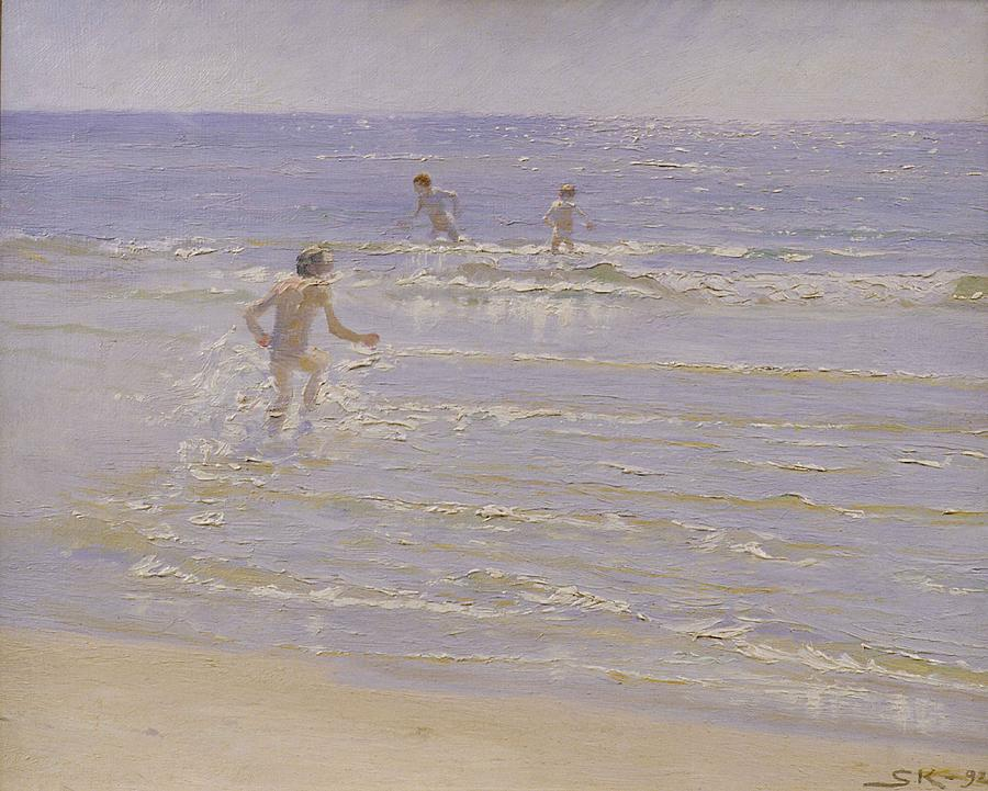 Sunshine Painting - Boys Swimming by Peder Severin Kroyer