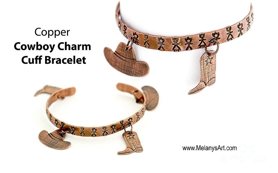 Bracelet western charm cuff copper by Melany Sarafis