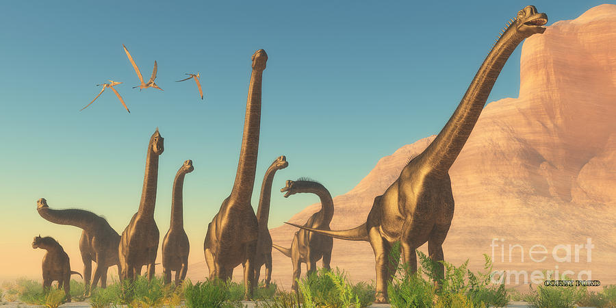 Brachiosaurus afternoon painting by corey ford