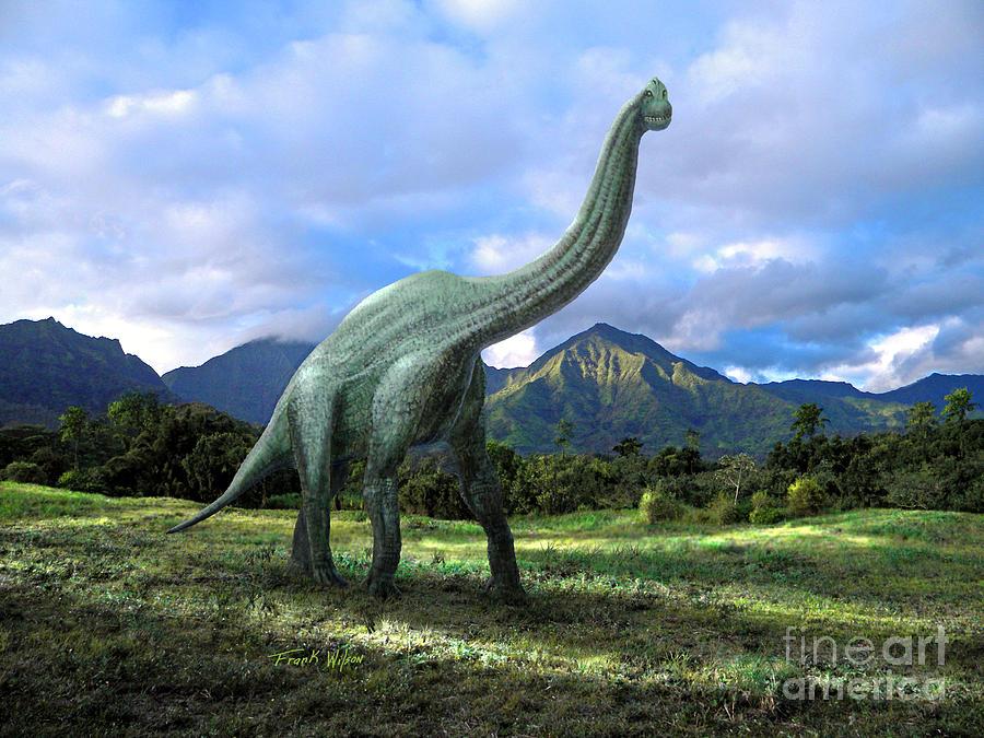 Dinosaur Mixed Media - Brachiosaurus In Meadow by Frank Wilson